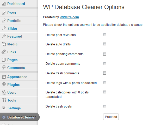 WP Database Cleaner