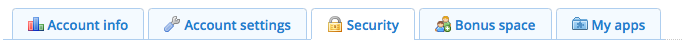 Dropbox Security tab