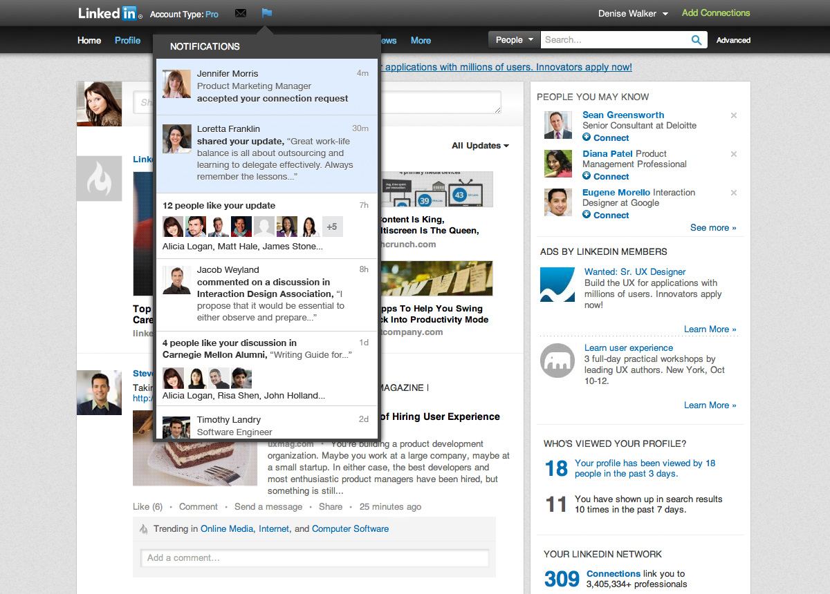 LinkedIn - notifications