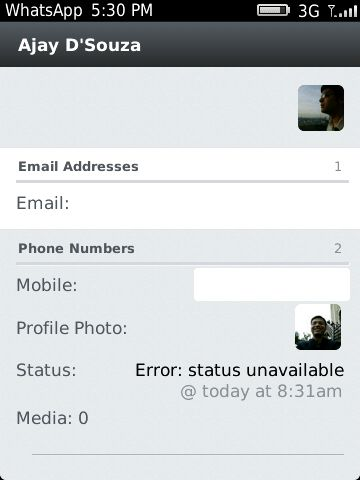WhatsApp Error:statusnavailable