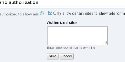 Sites authorized to display ads