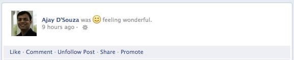 Facebook - Feeling wonderful