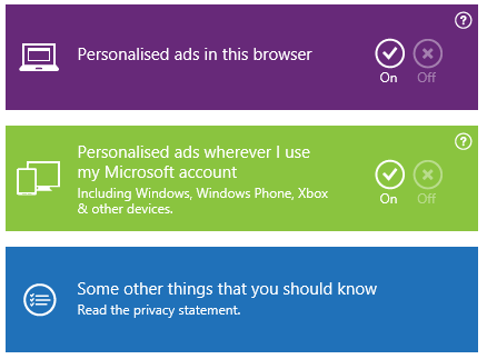 Microsoft personalised ads