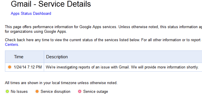 Gmail and Google+ are down