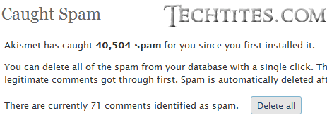 Delete all spam comments
