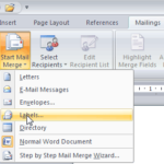 Label Merge with Microsoft Word 2007