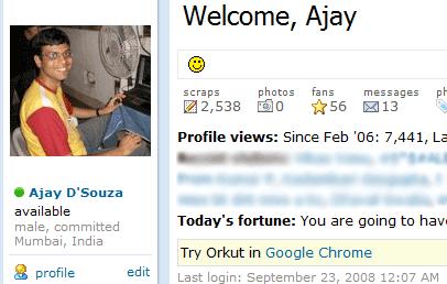 Google advertises Chrome in Orkut