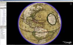 The World overlayed with a Rumsey Historical Map