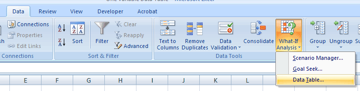 how to create a one variable data table