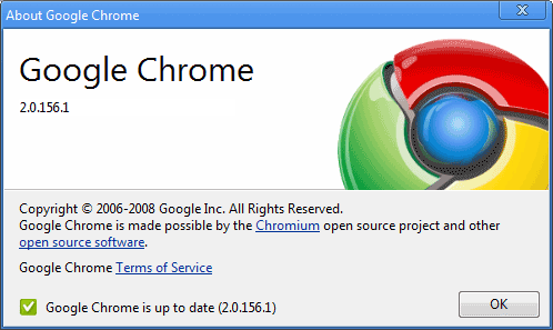 About Google Chrome dialog