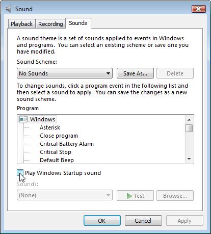 Uncheck Play Windows Startup Sound