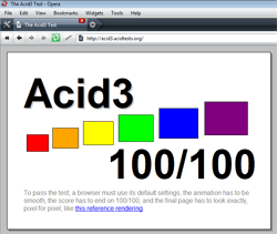 Opera 10 Alpha scores 100/100 on Acid3 Test
